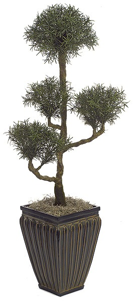 Artificial Topiary Trees, Outdoor Topiary, 4.5 feet   Plastic Podocarpus Bonsai Topiary