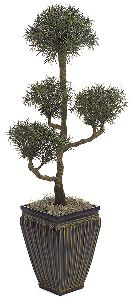 Artificial Topiary Trees, Outdoor Topiary, 4 and 5 feet   Plastic Podocarpus Bonsai Topiary