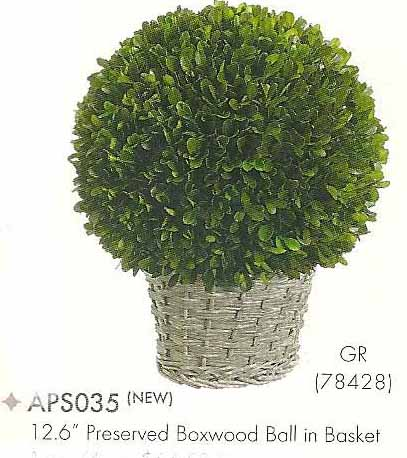 12.6 inch Preserved Boxwood Ball in Basket Green