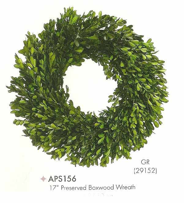 17 inch Preserved Boxwood Wreath Green