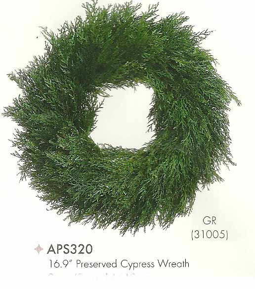 16.9 inch Preserved Cypress Wreath Green