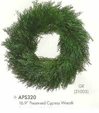 16 and 9 inch Preserved Cypress Wreath Green