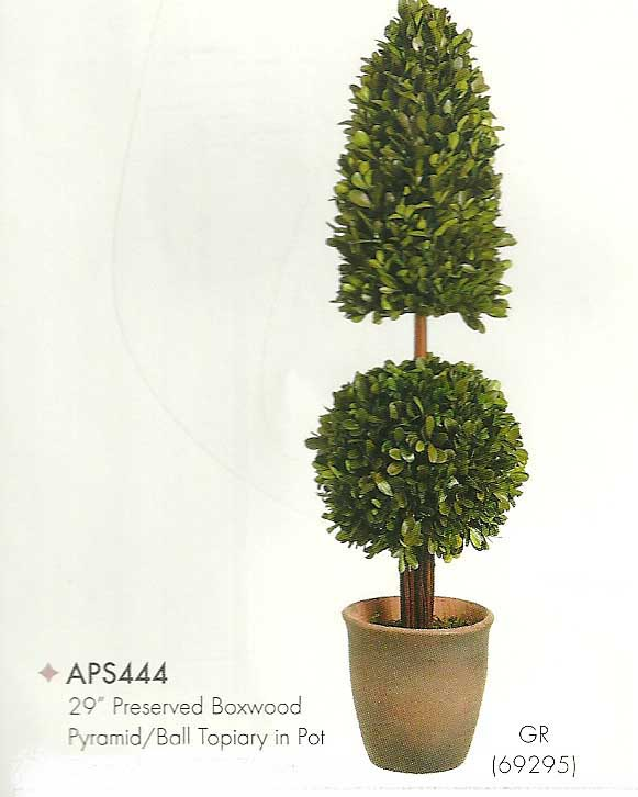 29 inch Preserved Boxwood Pyramid and Ball Topiary in Pot Green