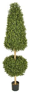 Artificial Topiary Trees, Outdoor Topiary, 6 feet   Plastic Boxwood Cone and Ball Topiary and Limited UV Protection