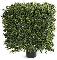 Artificial Topiary Trees, Outdoor Topiary, 21 inch x 16 inch Plastic Boxwood Square Topiary and Limited UV Protection