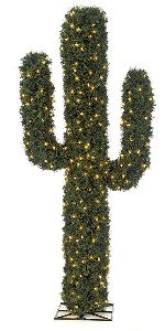 Artificial Topiary Trees, Outdoor Topiary, 6 feet   Pine Cactus Topiary with LED Lights