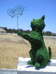 Cat and Butterfly Moss Topiary 12 inches tall