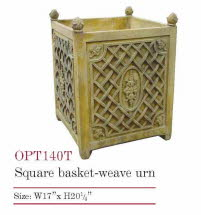 OPT140TC, Square Basket Weave Urn Terracotta Pot | TopiaryTree.NET