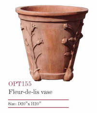 OPT155T, Shop for Fleur de Lis Vase Terracotta Pot | TopiaryTree and NET