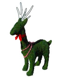 Standing Deer Frame Topiary with Moss 22 inches tall