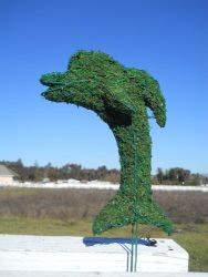 Dolphin Frame Topiary with Moss 16 inches tall