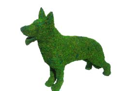 German Shepherd Frame Topiary with Moss 28 inches tall