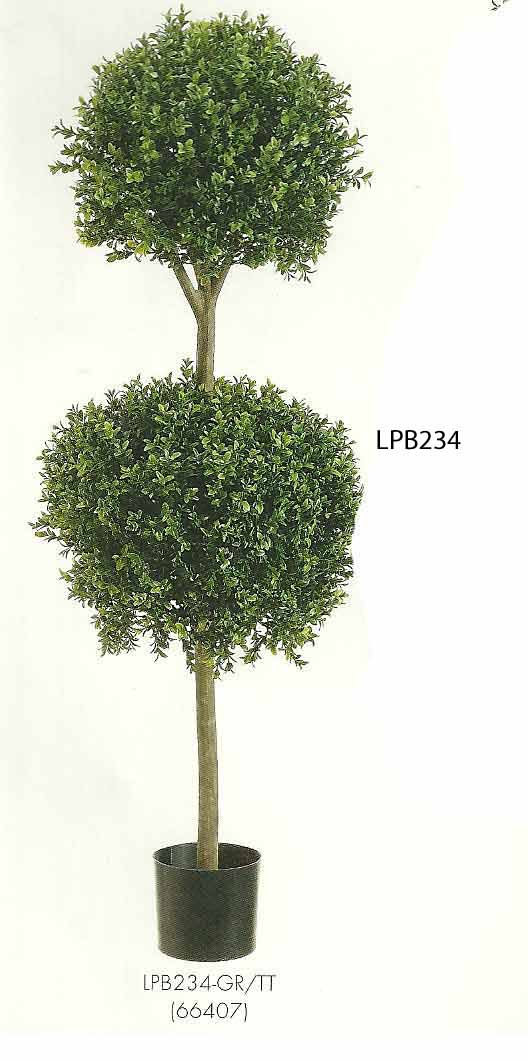 4 feet Double Ball Shaped Boxwood Topiary in Plastic Pot Two Tone Green
