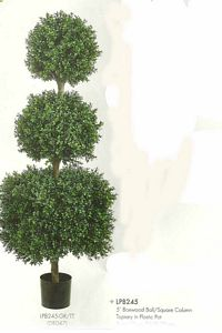 5 feet Boxwood Ball and Square Column Topiary in Plastic Pot Two Tone Green
