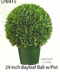 29 inch Plastic Italian Bayleaf Ball Topiary in Pot Green