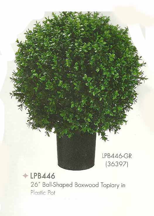26 inch Ball Shaped Boxwood Topiary in Plastic Pot Green