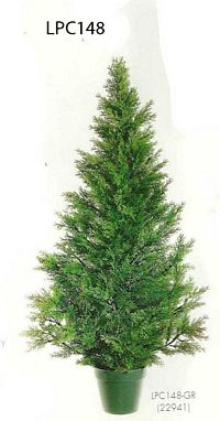 48 inch Plastic Mini Cedar Pine Topiary x1000 with Berry in Pot Green