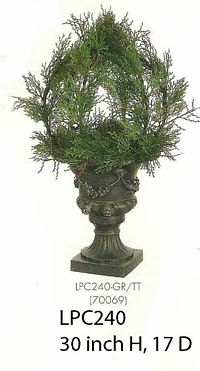 Cedar Ball Topiary in Black Plastic Urn Two Tone Green