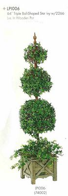 64 inch Triple Ball Shaped Star Ivy with 2266 leaves in Wooden Pot