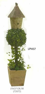 50 inch Ivy Topiary with Birdhouse in Wood Container Green Brown
