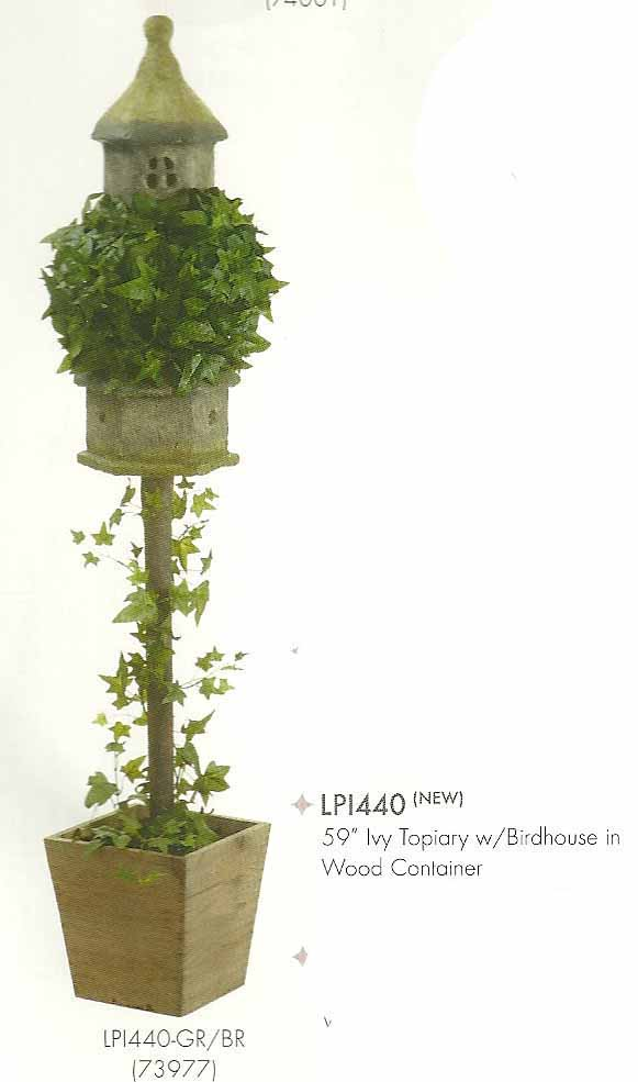 59 inch Ivy Topiary with Birdhouse in Wood Container Green Brown