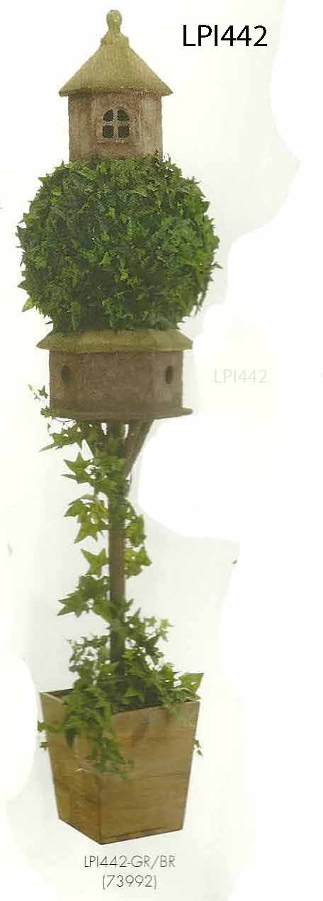 88 inch Ivy Topiary with Birdhouse in Wood Container Green Brown