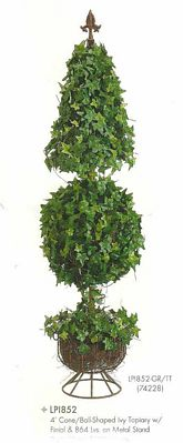 4 feet Cone and Ball Shaped Ivy Topiary with Finial & 840 leaves on Metal Stand Two Tone Green