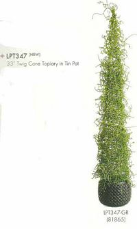 33 inch Twig Cone Topiary in Tin Pot Green