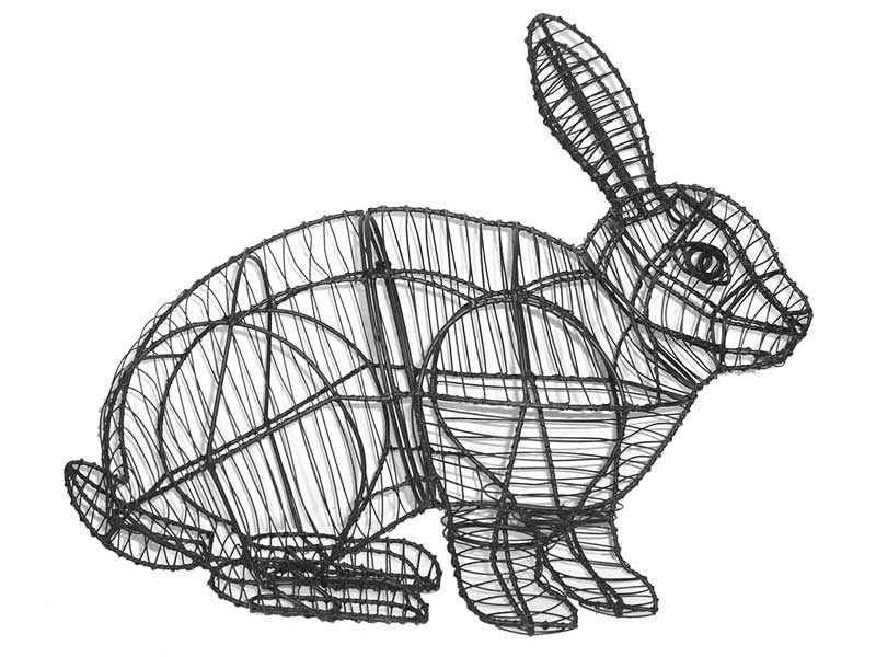 Frame Hopping Rabbit Topiary, 20 x 26 x 10