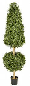 6 Foot Plastic Boxwood Cone and Ball Topiary   Limited UV Protection