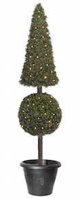 5 Foot Pyramid Ball Pine Topiary with Lights