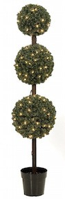 5 Foot Triple Ball Pine Topiary with Lights