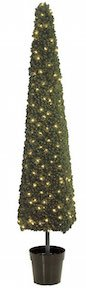 6 Foot Square Cone Topiary with Lights
