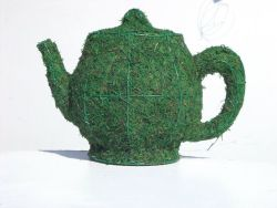 Teapot  with Moss 10 inches tall