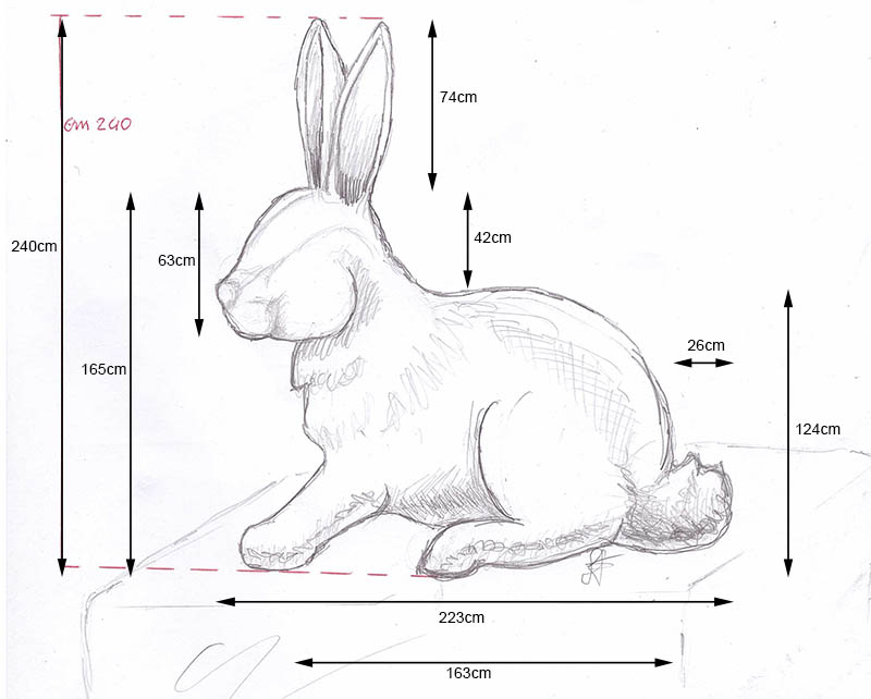 sizing and specs for rabbit topiary.